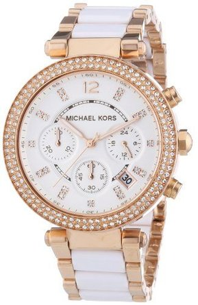 Michael Kors Womens Parker Rose Gold-Tone Watch MK5774