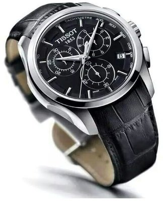 Tissot Mens Couturier Black Leather Swiss