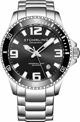 Stuhrling Swiss Stainless Steel Sport Analog Dive Watch